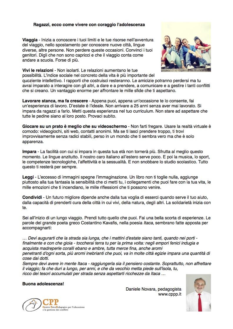 Lettera di Daniele Novara agli adolescenti 2018