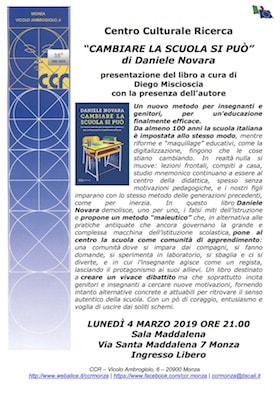 Locandina presentazione Cambiare la scuola si può - Monza 4 marzo 2019