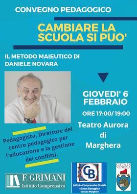 Locandina convegno pedagogico con Daniele Novara a Marghera