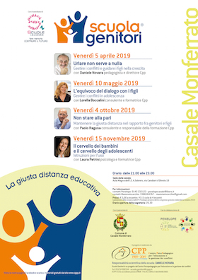 Locandina Scuola Genitori di Casale Monferrato 2019