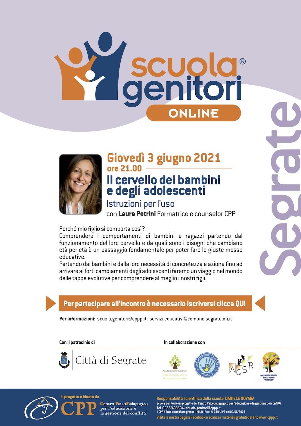 Locandina Scuola Genitori Segrate con Laura Petrini 3 giugno 2021
